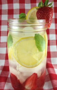 Strawberry, Mint, and Lemon Water Detox Drink