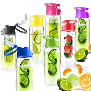 Fruit Infusing Water Bottle with Fruit Infuser and Flip Lid | 6 colours